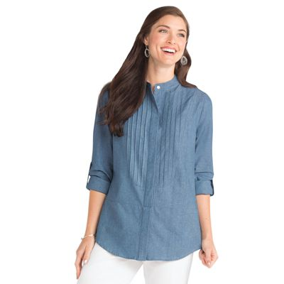 Long-Sleeved Chambray Pintuck-Bib Shirt