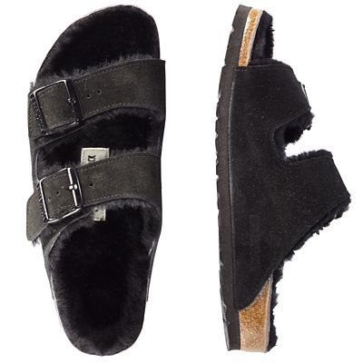 Birkenstock Arizona Suede Shearling-Lined Sandals