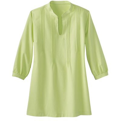 No-Hassle Linen Pintuck Tunic