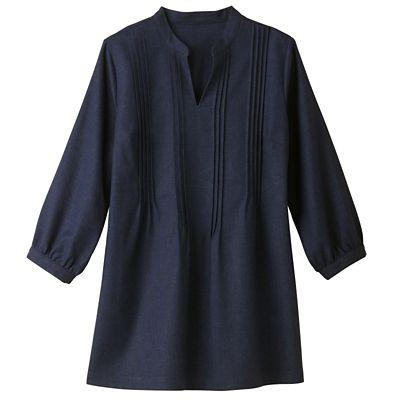 No-Hassle Linen Pintuck Tunic