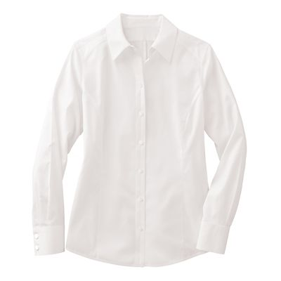 Foxcroft Princess-Seamed Non-Iron Stretch-Cotton Shirt