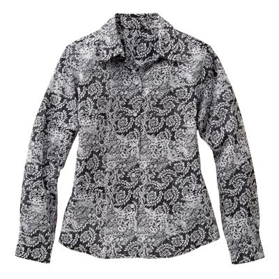 Foxcroft Wrinkle-Free Lace-Print Cotton Shirt