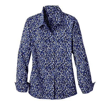 Foxcroft Wrinkle-Free Crosshatch-Print Shirt