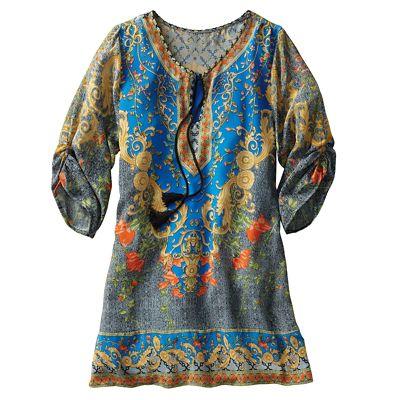 Peacock 100% Silk Tunic