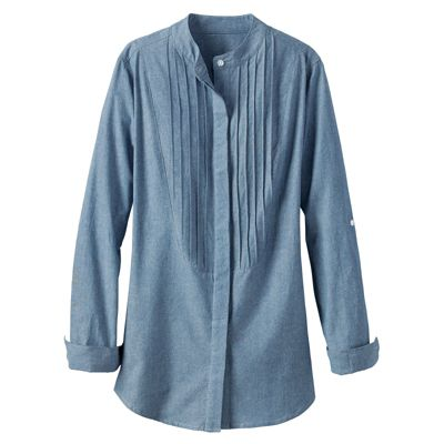 Women's Long-Sleeve Chambray Pintuck-Bib Shirt
