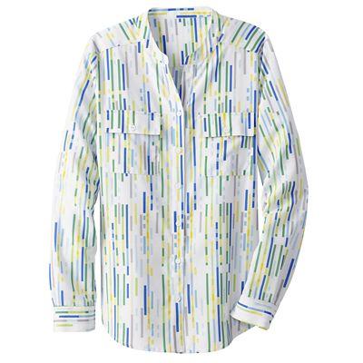Multi-Stripe Banded-Collar Shirt