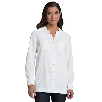 Microfiber Banded-Collar V-Neck Shirt