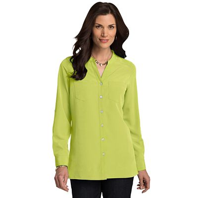 Plus Size Microfiber Banded-Collar V-Neck Shirt