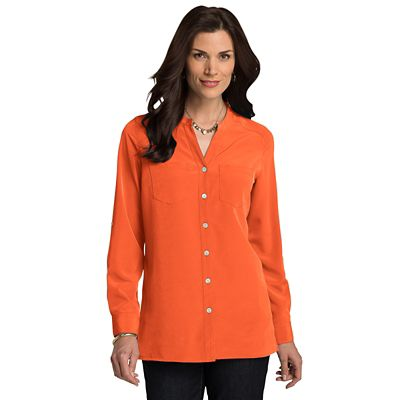 Plus Size Microfiber Banded-Collar V-Neck Shirt