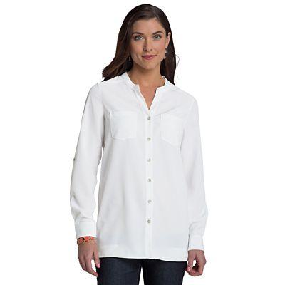 Women's Microfiber Banded-Collar V-Neck Shirt