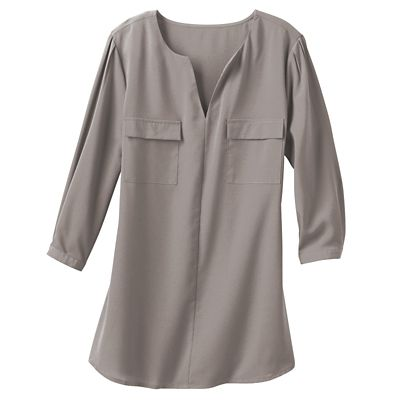 Plus Size Samantha Brown Musee Crepe de Chine Shirt