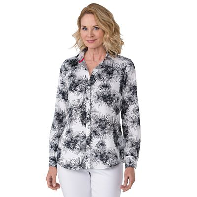 Foxcroft Wrinkle-Free Daisy Print Shirt