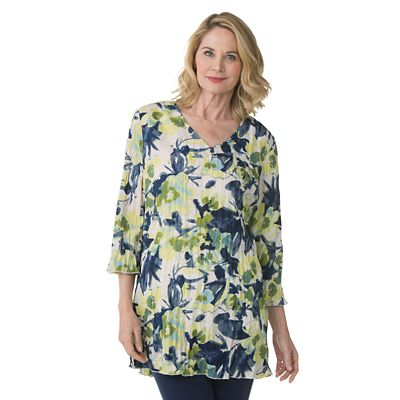 Women's Summer Crinkle Floral Tunic