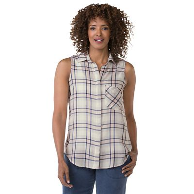 Sea Breeze Sleeveless Button-Up Top
