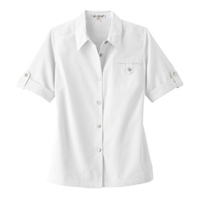 Plus Size Short-Sleeved Microfiber Shirt-Traditional Fit