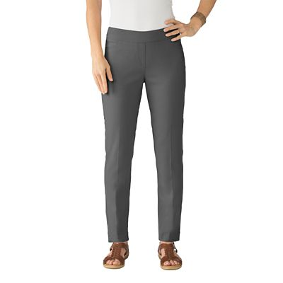 Plus Size Classic Fit Slim-Sation Pull-On Ankle-Length Pants