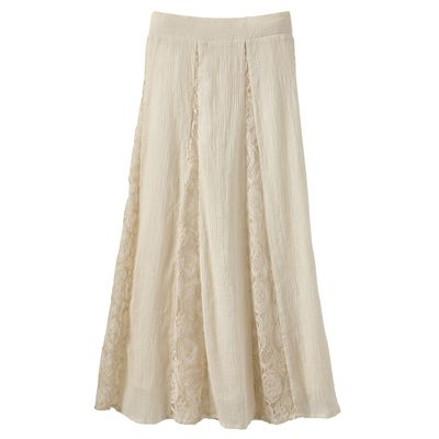 Lace-Inset Pull-On Crinkle Skirt