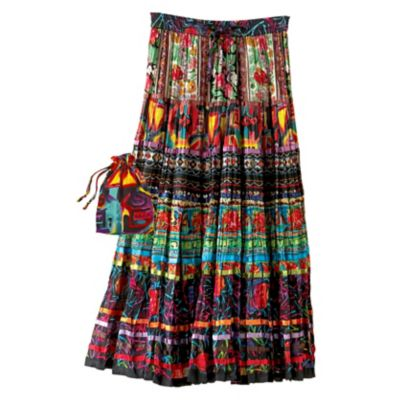 Plus Size Crinkle Fiesta Skirt