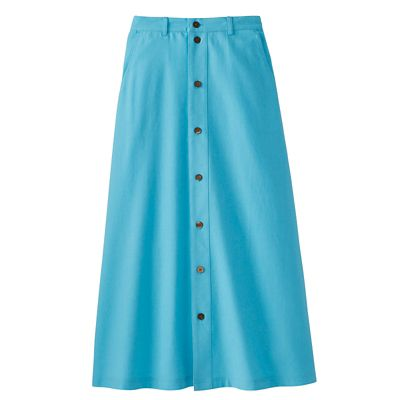 No-Hassle Linen Button-Front Skirt
