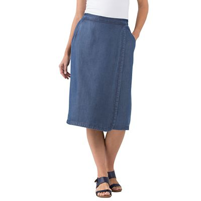 Tencel Denim Faux-Wrap Skirt