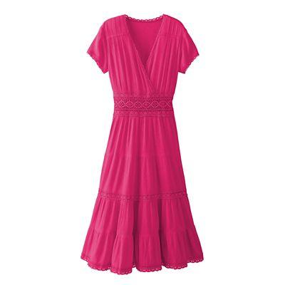 Crinkle Cotton Peasant Dress