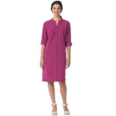 Microfiber Button-Front Dress