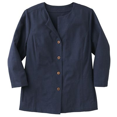 New No-Hassle Linen Collarless Jacket