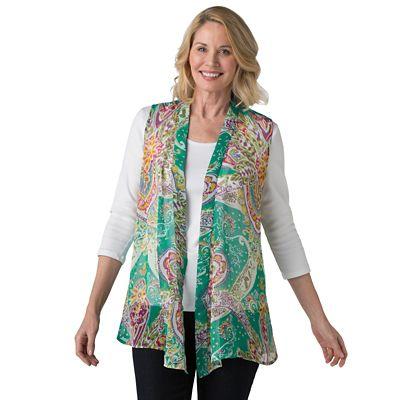 Plus Size Medallion Cascading Vest