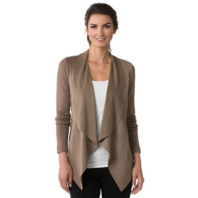 Faux Suede Cascading Collar Jacket