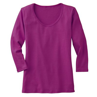 3/4-Sleeved U-Neck Knit Top