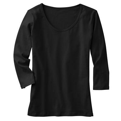 3/4-Sleeved U-Neck Knit Top