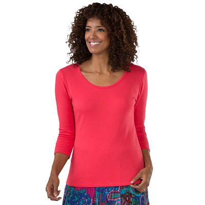 Plus Size 3/4-Sleeved U-Neck Knit Top