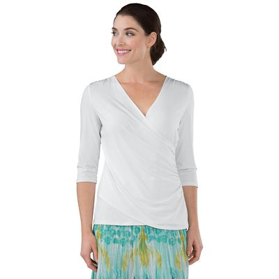 Walkabout Knit 3/4-Sleeve Wrap Top