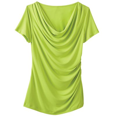 Walkabout Knit Short-Sleeved Drape-Neck Top
