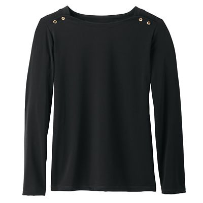 Jet Set Knit Button-Shoulder Boatneck Top