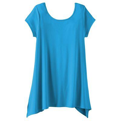 Convertible Neckline Short-Sleeve Handkerchief Tunic