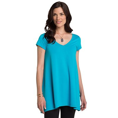 Convertible Neckline Short-Sleeve Handkerchief Tunic