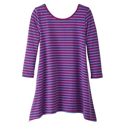 Convertible Neckline 3/4-Sleeve Striped Handkerchief Tunic