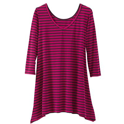 Women's Convertible Neckline 3/4-Sleeve Striped Handkerchief Tunic