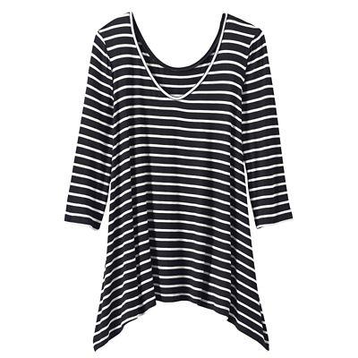 Convertible Neckline 3/4-Sleeve Striped Handkerchief Tunic