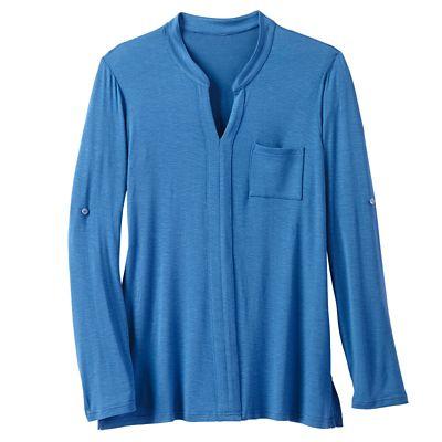 Banded-Collar Slub-Knit Tunic