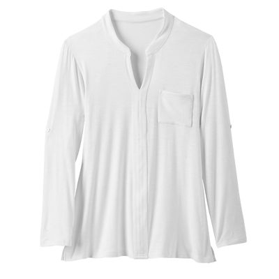 Women's Banded-Collar Slub-Knit Tunic