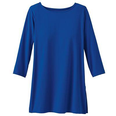 Jet Set Knit 3/4-Sleeved Ballet-Neck Tunic