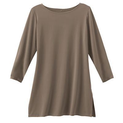 Plus Size Jet Set Knit 3/4-Sleeved Ballet-Neck Tunic