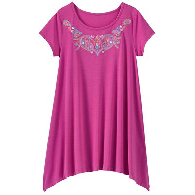 Embroidered Handkerchief Hem Tunic