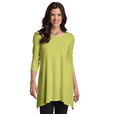Convertible Neckline 3/4-Sleeve Handkerchief Tunic