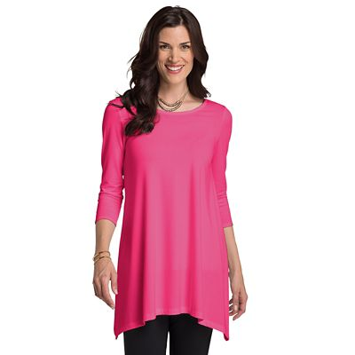 Plus Size Convertible Neckline 3/4-Sleeve Handkerchief Tunic