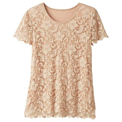 Scallop-Detail Lace Top