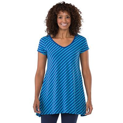 Convertible Neckline Striped Handkerchief Tunic
