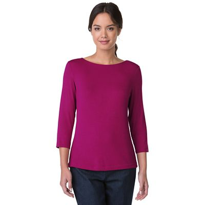 Plus Size Essential Knit 3/4-Sleeve Boatneck Top
